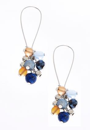 Navy Beaded Cluster Earrings | Tuggl
