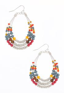 Layered Seed Bead Wire Earrings