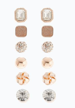 Rose Gold Glitter Earring Set at Cato in Brooklyn, NY | Tuggl