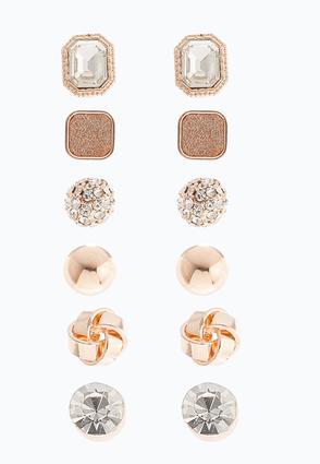 Rose Gold Glitter Earring Set | Tuggl