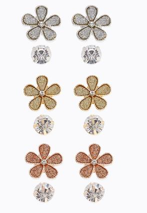 Flower Rhinestone Earring Set | Tuggl