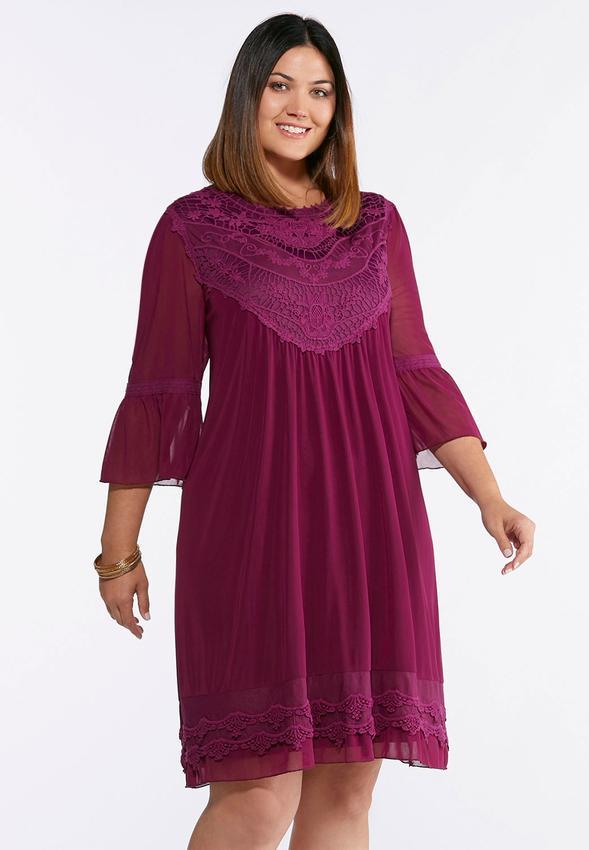 Plus Size Lace Mesh Babydoll Dress Dresses Cato Fashions