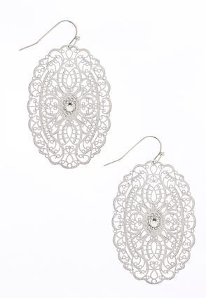 Rhinestone Center Filigree Earrings | Tuggl