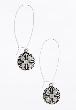 Rhinestone Silver Wire Earrings | Tuggl