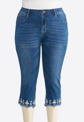 Plus Size Embroidered Scallop Hem Denim Crops | Tuggl