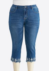 Plus Size Embroidered Scallop Hem Denim Crops