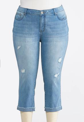 Plus Size Distressed Frayed Denim Crops | Tuggl