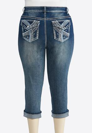 Plus Size Cropped Blue Stitch Embellished Jeans