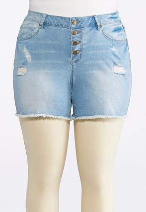 Plus Size Button Down Distressed Denim Shorts | Tuggl