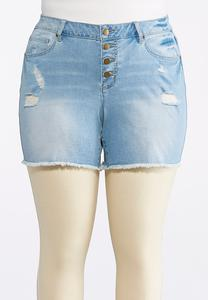 Plus Size Button Down Distressed Denim Shorts