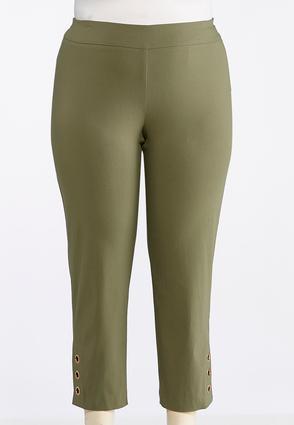 Plus Size Grommet Hem Pull-On Ankle Pants | Tuggl