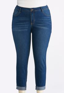 Plus Size Cuffed Raw Edge Skinny Jeans
