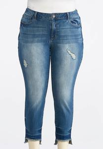 Plus Size Distressed Step Hem Jeans