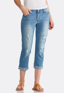 Distressed Frayed Denim Crops