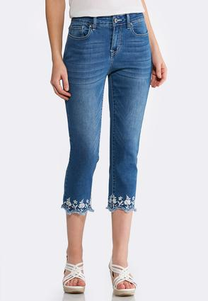 Embroidered Scallop Hem Denim Crops | Tuggl