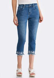 Embroidered Scallop Hem Denim Crops