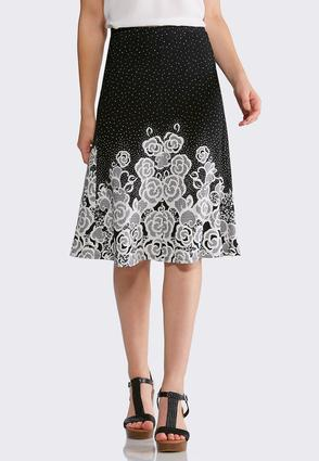 Floral Dot Fit and Flare Skirt | Tuggl