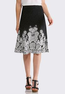 Floral Dot Fit and Flare Skirt