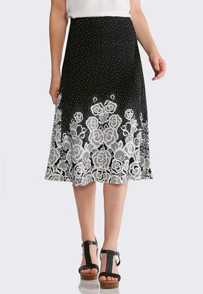 Plus Size Floral Dot Fit And Flare Skirt