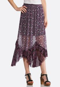 Plus Size Violet Medallion Mesh Skirt