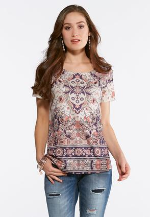 Plus Size Embellished Floral Tee