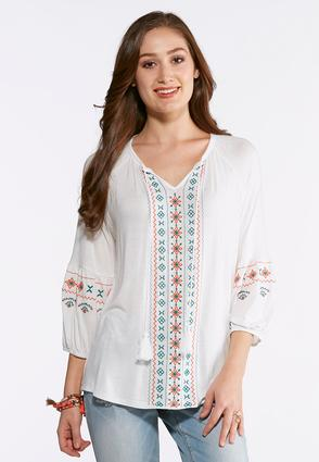 Plus Size Embroidered Poet Top
