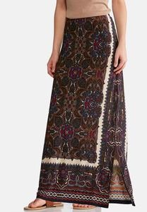 Plus Size Rich Mixed Print Maxi Skirt