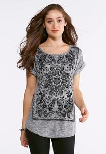 Plus Size Flocked Paisley Top
