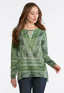 Plus Size Mixed Green Paisley Top