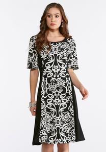 Plus Size Scroll Puff Print Swing Dress