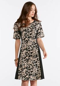 Plus Size Scroll Puff Print Dress