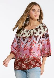 Plus Size Floral Ombre Bell Sleeve Top