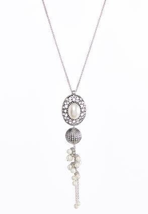 Filigree Pearl Pendant Necklace | Tuggl