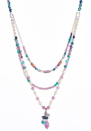 Layered Cluster Bead Necklace | Tuggl
