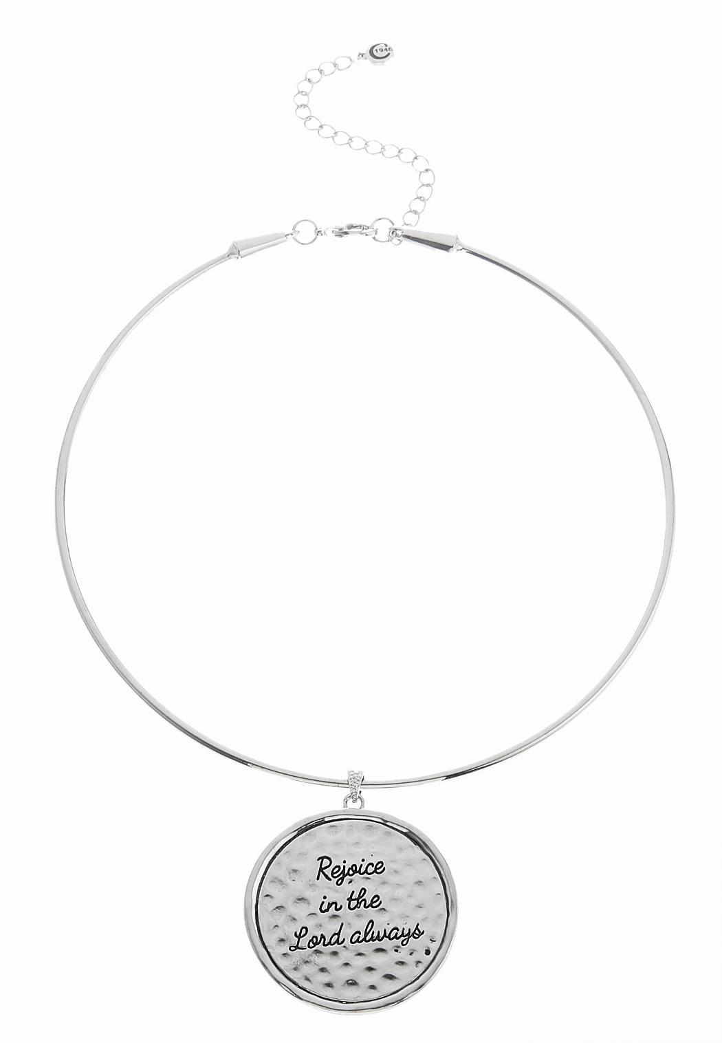Inspirational hammered pendant necklace necklaces cato fashions inspirational hammered pendant necklace aloadofball Choice Image