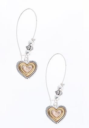 Tri-Tone Heart Wire Earrings | Tuggl