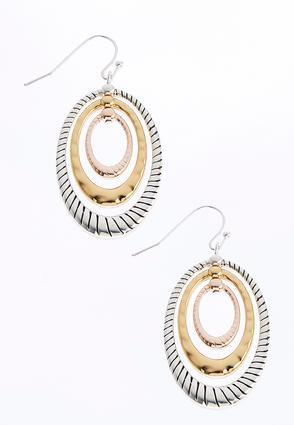 Tri-Tone Oval Hoop Earrings | Tuggl