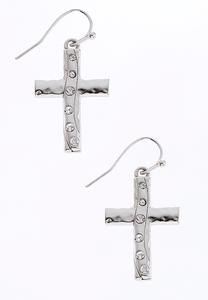 Hammered Rhinestone Cross Earrings