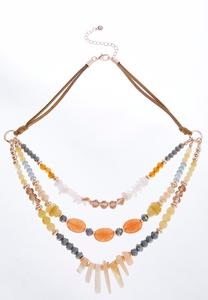 Layered Bead Cord Necklace