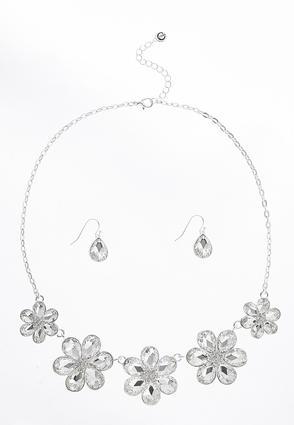 Rhinestone Flower Necklace | Tuggl