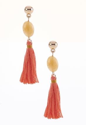 Semi-Precious Stone Tassel Earrings | Tuggl