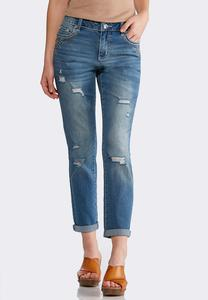 Stud Distressed Girlfriend Ankle Jeans