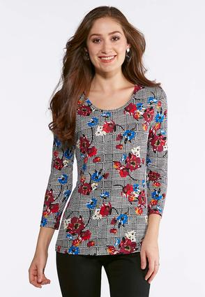 Floral Houndstooth Top