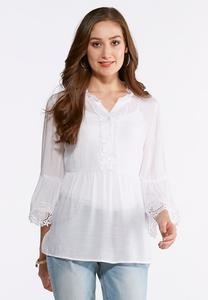 Crochet Trim Ruffle Poet Top