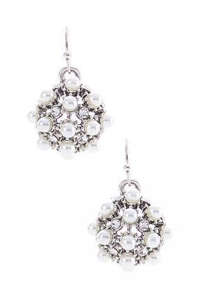 Rhinestone Pearl Dangle Earrings | Tuggl