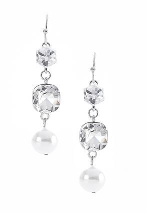 Glass Faux Pearl Tiered Earrings | Tuggl