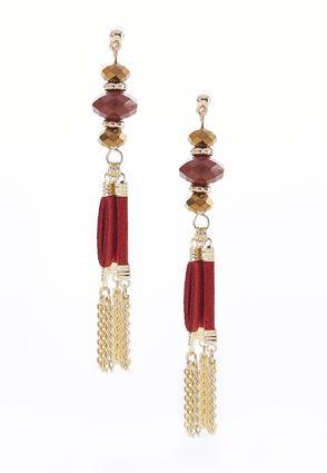 Suede Tassel Chain Earrings | Tuggl