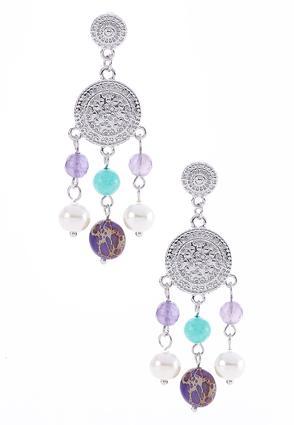 Purple Bead Disc Earrings | Tuggl