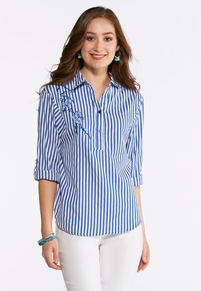 Floral Embroidered Striped Popover Shirt