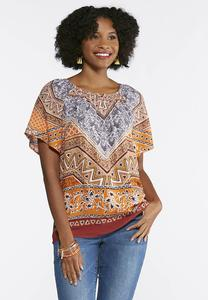Plus Size Aztec Poet Top
